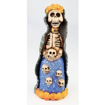 Fran Garcia Vasquez Clay Day Of The Dead Mourner Holding Candle Surrounded By Skulls
