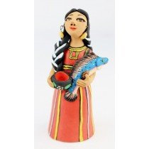 Fran Garcia Vasquez Tehuana Woman Red Traditional Dress Holding Fish