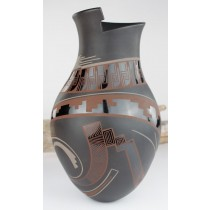 Mata Ortiz Pottery Lydia Quezada Highly Polished Extra Large Black On Black With Mauve