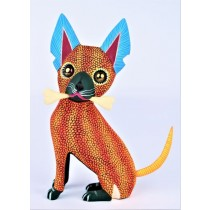 Oaxacan Wood Carving Isaac And Rosario Fabian Large Orange And Red Chihuahua Dog With A Bone