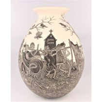 Mata Ortiz Pottery Javier Martinez Museum Quality Extra Large Day Of The Dead Cemetery Scene Sgraffito Pot Day Version