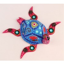 Oaxacan Wood Carving Roberta Angeles Fuchsia And Blue Sea Turtle