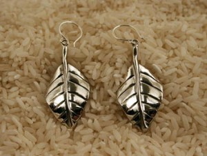Taxco .925 Sterling Silver Citlal Castillo Solid Silver Leaf Earrings