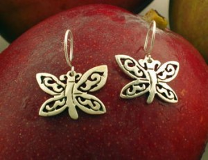 Taxco .925 Sterling Silver Citlal Castillo Elegant Butterfly Earrings