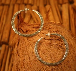 Taxco .925 Sterling Silver Citlal Castillo Hammered Hoop Post Earrings