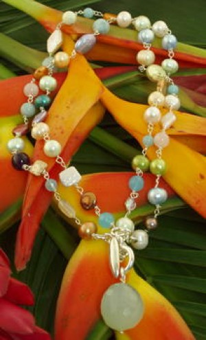 Taxco .925 Sterling Silver Natural Stone Citlal Castillo Spring Pearl and Blue Chalcedony Double Necklace