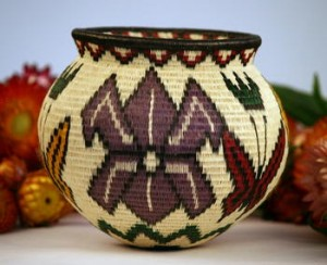 Wounaan Indian Basket from Panama Floral and Butterfly Design