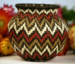 Wounaan Indian Basket from Panama Olive Green and Burgundy Geometric Design