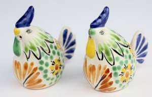Gorky Gonzalez Majolica Ceramic Chicken Salt And Pepper Shakers