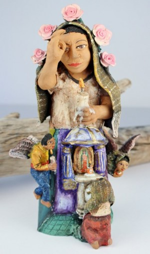 Demetrio Garcia Aguilar Large Clay Mourner With Candle Angels Altar