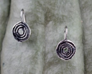 .925 Taxco Sterling Silver Citlal Castillo Swirling Circle Earrings