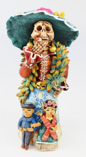 Fran Garcia Vasquez Large Clay Figurine Day of the Dead Catrina With Frida Kahlo And Diego Rivera