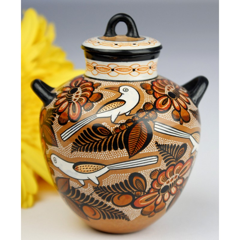 Fernando Jimon Tonala Clay Ceramics Burnished Pottery Great Masters Of Mexican Folk Art Miniature Lidded Jar Birds And Flowers