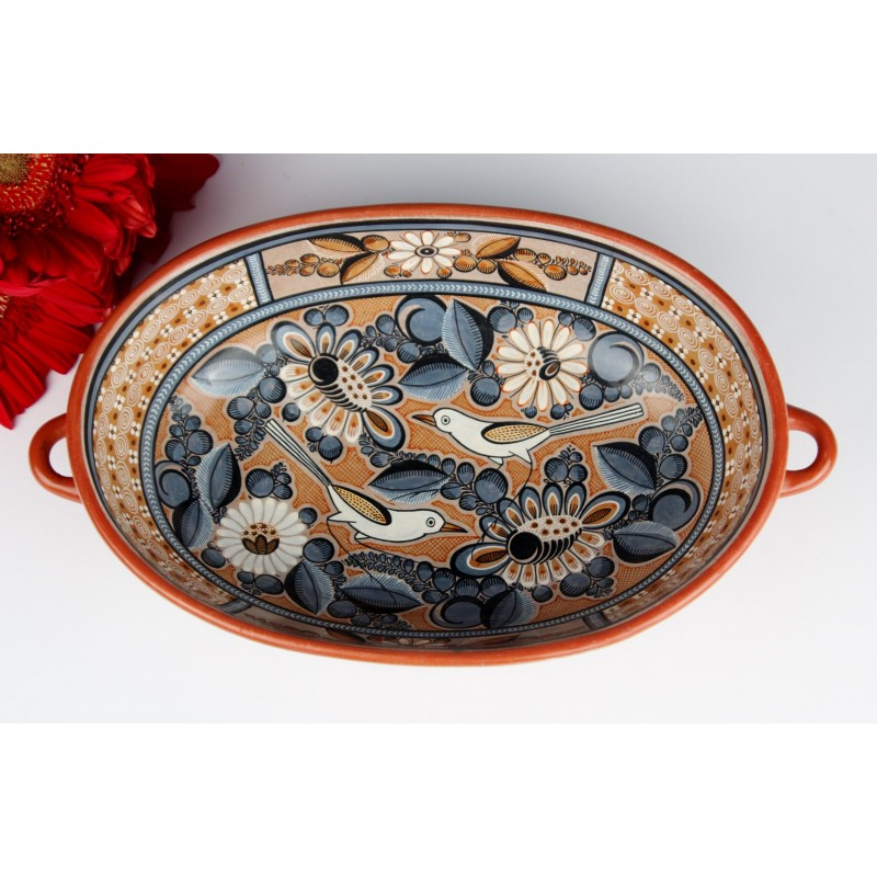 Fernando Jimon Tonala Clay Ceramics Burnished Pottery Great Masters Of Mexican Folk Art Birds And Flowers Design Cazuela Bowl